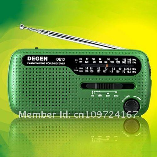 DEGEN DE13 CRANK DYNAMO SOLAR POWER EMERGENCY AM FM SW PORTABLE POCKET RADIO STATION RECEIVER(China (Mainland))