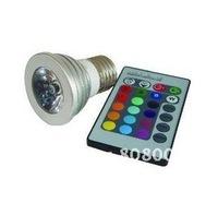 MR16/Gu10/E27 3w RGB LED spot lights bulb lamp spotlight with IR remote controller DC12v/24v/AC85v-265v