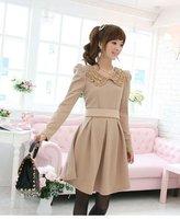 Size S,M,L,XL Women Long Sleeve Sequin Drape Dress Evening Casual Dresses Knee Length with Belt Free Shipping Wholesale E5253