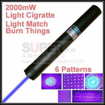 6 parterns Can Light Cigaratte and Burn Match,2000mW focus blue beam Laser pointer pen,Blue laser pen