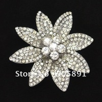 Wholesale flower rhinestone brooch plating in siver color 100pcs/lot free shipping  #WBR-736