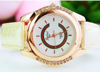 Free shipping Quartz pointer table supply water to high-grade rose gold belt watch electronic gifts table 144653