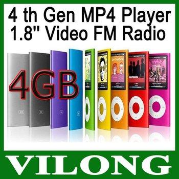 New 2014 4th  MP4 + 4GB + Player 1.8'' Video Radio FM MP3 MP4 &  MP3 player mp4 player