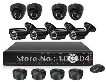8chDVR kit,8PCS 18.3 meter 60ft BNC Video Cable,VGA,PTZ,Network,USB,Email,CMS,Smart Phone Surveillance