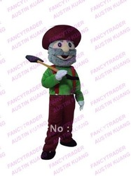 Gold Miner Mascot Costume Gold Miner Fancy Dress Treasure Digger Mascot Costume Free Shipping FT30053(China (Mainland))
