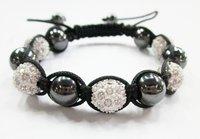 Free shipping 24 pcs shamballa bracelet 10mm  crystal beads black stone ball black line shamballa Beads Shamballa Bracelets