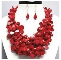 CHARMING RED CORAL Necklace Earring Costume Jewelry Chunky shipping free