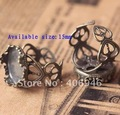 Free shipping!DIY jewelry Antique bronze ring settings base fit 15MM resin flower/cameos/cabochons ring setting!60pcs/lot!