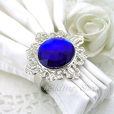 Free DHL Shipping-Lowest price--150PCS Royal Blue Gem Napkin Rings Wedding Bridal Shower Wedding Favor-HOT&Promotion(China (Mainland))