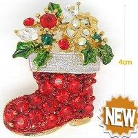 Christmas shoes Brooches ,Fashion brooch ,Xmas Brooches, Christmas Brooch, crystal brooch pin, 6pcs / lot + Free shipping