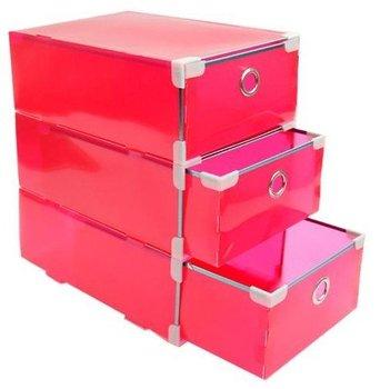 Multi-function environmental PP three layer metal side drawer receive a box/organizer-  Red