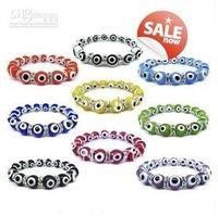 Free Shipping Wholesale - NEW Silver Beads Bracelets Turkey Evil Eye coloured glaze Rhinestone Colorful Beads Bracelet