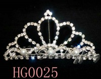 Fast Free Shipping! Gorgeous Alloy With Austria Rhinestones Pearls Wedding Bridal Tiara/ Combs/ Headpiece -HG0025