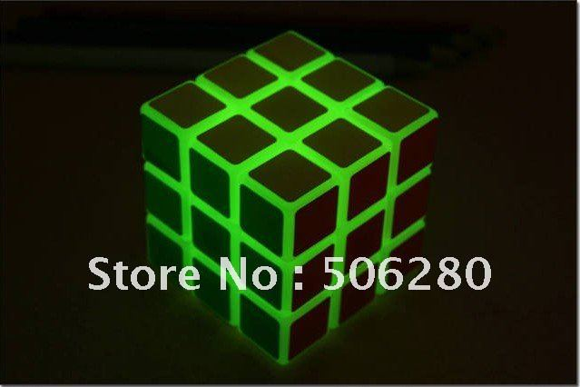 Free Shipping New Glaring LED Light Novel Brain Teaser Magic Cube IQ Puzzle Toy(China (Mainland))