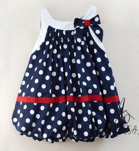 Navy Polka  Dress on Amissa Navy Cotton Dress Toddlers Baby Girls Polka Dot Summer Dress
