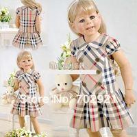 Children dresses Girls England style Plaid lapel dress.
