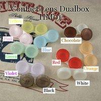 Free Shipping 100 pcs/lot Contact Lens Case Dual Double Box Lens Soaking Case