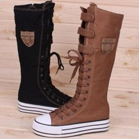 Free shippment  PUNK Leisure  Platforms Shoes Canvas shoes Boot  Sneaker Lace Up Knee-High