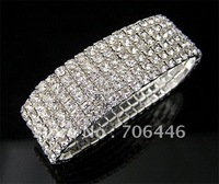 FREE SHIPPING SILVER PLATING 6 ROWS CLEAR RHINESTONE STRECH BANGLE/BRACELET