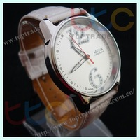 Freeshipping Wholesale 2011 Alloy Case Pu Bracelet lady's watch quartz analog watch japan movt WristWatch fashion watch