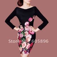 Free shipping-  Elegant ladies dresses full sleeve black flower dress for fall and winter  1pc/lot S~XXL size-best quality!