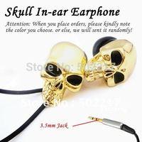 China Post Air Free For PC MP3 MP4 Skull Earphones In-ear Earphone Headphone Skull For Cool Guys Golden Siliver 2PCS/LOT