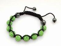 Fashion best selling newest styles Unisex Style Crystal plastic ball 10mm Shambhala Fashion Bracelet CC04