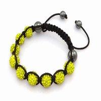 Fashion best selling newest styles Unisex Style Crystal plastic ball 10mm Shambhala Fashion Bracelet CC05