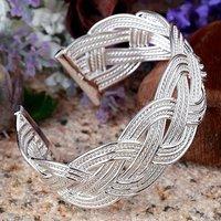 Best Selling!925 Sterling Silver Elegant Meshy Weave Cuff Bracelets