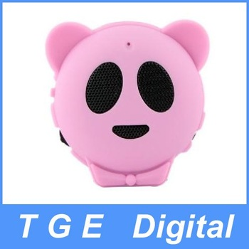 Free Shipping! Hot Mini Panda Shape Speaker Sound Box for MP3 MP4 PC iPod iPhone Pink
