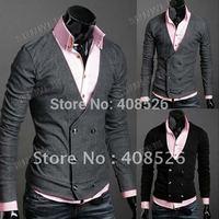 Free Shipping Men's Knitwear Cardigan Fake Pocket Design Slim Casual Sweater Coat S M L XL Wholesale 3323