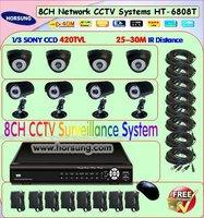 HT-6808T 8CH cctv security surveillance camera system Kit with 1/3 420tvl Sony CCD Camera