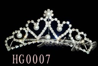 Fast Free Shipping! Gorgeous Alloy With Austria Rhinestones Pearls Wedding Bridal Tiara/ Combs/ Headpiece -HG0007