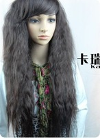 Imitate human hair black curly long wigs not lace front free shipping