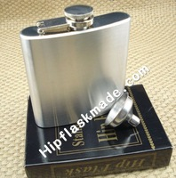 10pcs/lot Lead-free  6oz ALCOHOL stainless steel hip flask with  free  funnel