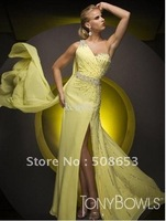 wholesale sexy chiffon One-shoulder Handmade flowers bridesmaid Evening dresses Quinceanera Dresses