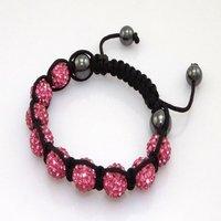 Fashion best selling newest styles Unisex Style Crystal plastic ball 10mm Shambhala Fashion Bracelet CC26