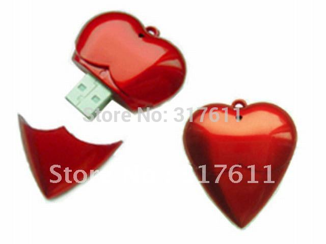 Top selling gifts ~ lovely red heart usb flash drives wholesales 1gb 2gb 4gb 8gb 16gb usb flash driver usb memory sticks(China (Mainland))