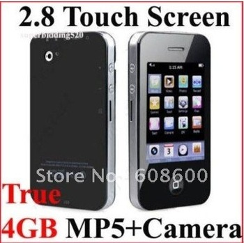 Free Shipping China Dropshipping 2.8'' 4GB Touch Screen MP3 MP4 MP5 Player Media Player with FM Games Digital Camera