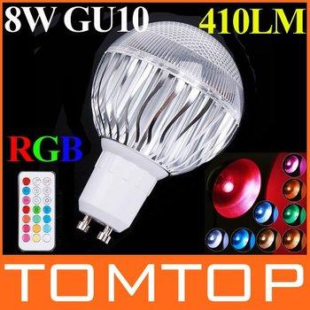 AC 100-240V RGB LED Bulb lamp 8W GU10 410LM RGB led Lamp with Remote Control 120 levels brightness led lighting free shipping