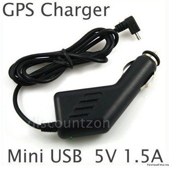 Wholesale 10 MINI USB DC 12V / 24V To DC 5V 1.5A CAR CHARGER ADAPTER FOR GPS GARMIN NUVI TOMTOM Free Shipping