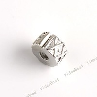 Free Shipping  2012 bargain Copper Stopper Charms Beads Carved Tartan Rhodium Plated Positioning Clasp Bracelets 151238
