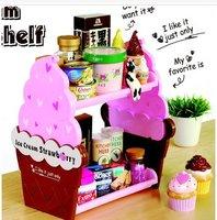 1pcs/lot storage rack.home decoration double shelf fashion ice cream storage holder beautiful and cute free shipping