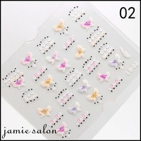 Cute Lace Design Little Colorful Flower 3D Nail Art Sticker Decals Assorted For Nail  Free Shipping