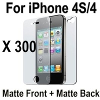 300 Sets Anti-Glare Matte Full Body (300X Front And 300X Back) Screen Protector For iPhone 4S 4 4G (Without Retail Package)