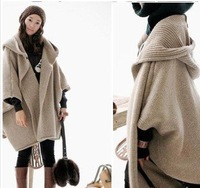 Free Shipping Hooded cloak irregular sleeve sweater cardigan Poncho Cape coat