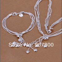 Fashion 925 silver jewelry hanging heart necklace bracelet set combination of tai chi free shipping 5set/lot