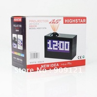 Fantastic New Sleek Futuristic Design Colorized  Digital LED Projector Alarm Clock Black Rotate 180