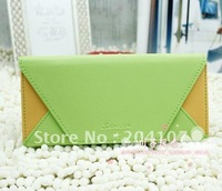 women's fashion long pattern wallet Small hand bag envelope purse Candy colors pu leather free shipping.