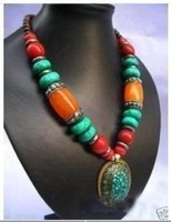 Nobility jewelry tibetan silver amber&turquoise&coral necklace
